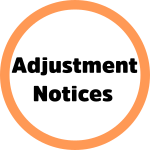 The words Adjustment Notices inside an orange-bordered circle.