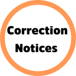 The words Correction Notices inside an orange-bordered circle.
